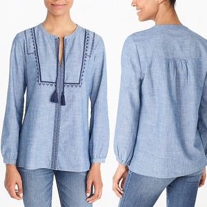 J.CREW J6507 Embroidered Peasant Top-Blue-Cotton